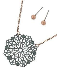 Gorgeous Floral Art Cut Copper Patina Necklace with Copper Stud Earrings
