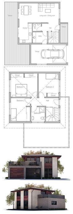 plan maison plain pied 3 chambres tableau haj Pinterest 3)