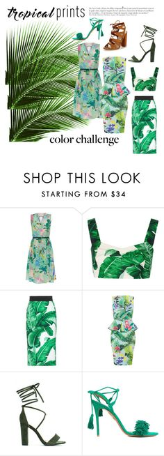 """Summer is here"" by blackdaisyy ❤ liked on Polyvore featuring Weekend Max Mara, Dolce&Gabbana, Aquazzura, Lipsy, Anja, tropicalprints and hottropics"