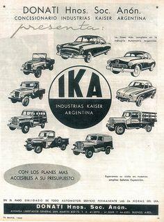 IKA's 1960 range of vehicles: Carabela, Bergantin (based on a Alfa Romeo model), Renault Dauphine and Jeep. Jeep Ika, Jeep Concept, Used Car Lots, Retro Lingerie, Truck Art, American Motors, Jeep Cars, Ad Art, 4x4 Trucks