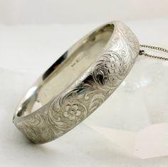 Vintage Engraved Sterling Silver Bracelet