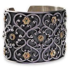 Flower Gate Black Cuff Bracelet. See more at www.athenas-treasures.com