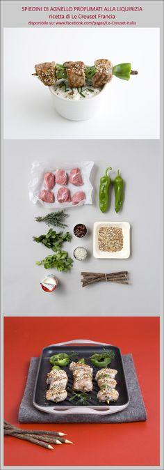 Spiedini di agnello e peperoni profumati alla liquirizia.   Ricetta completa su www.facebook.com/pages/Le-Creuset-Italia.  #LeCreusetItalia #food #ricette #LeCreuset #grill