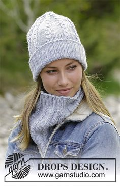 Sugar Twists - The set consists of: Knitted hat and neck warmer with small cables and rib. The set is worked in DROPS Nepal. Free knitted pattern DROPS 182-5