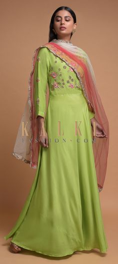 Leaf Green Anarkali Suit In Cotton With Thread And Zardozi Embroidery Online - Kalki Fashion Embroidery Online, Embroidery Designs, Anarkali Suits, Cotton Anarkali, Zardozi Embroidery, Indian Wear, Salwar Kameez, Lehenga, Party Wear