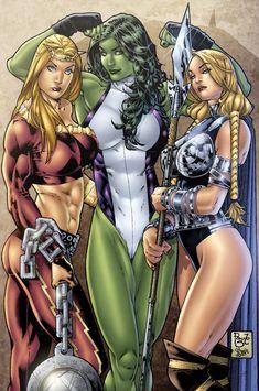 Thundra, She-Hulk and Valikyrie