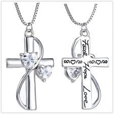 "Crystal Necklace Silver Plated Cross ""Faith Hope Love"" Pendant Women Hot Fashion"