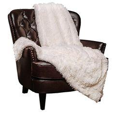 """Chanasya Super Soft Long Shaggy Chic Fuzzy Fur Faux Fur Warm Elegant Cozy With Fluffy Sherpa White Throw Blanket (50"""" x 65"""") - Solid Shaggy White"""