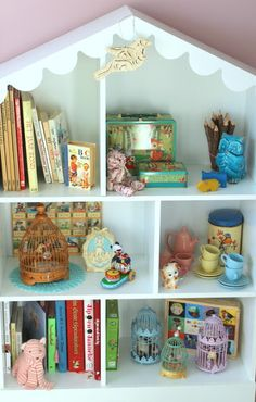 Dollhouse bookshelf filled with goodies!