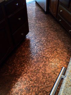 Finished Penny Floor Kitchen Mosaic by Amanda Edwards Kitchen Mosaic, Copper Kitchen, Interior Exterior, Interior Design, Kitchen Flooring, Penny Flooring, Cottage Design, Living Room Inspiration, Mosaic Glass