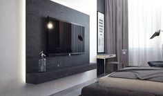The impartial color palette by way of three distinctive interiors ~ Furniture Bedroom Tv Stand, Tv In Bedroom, Bedrooms, Bathroom Wall Cabinets, Bedroom Cabinets, Tv Cabinets, Bedroom Televisions, Tv Wanddekor, Living Room Ornaments