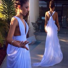 Buy Sexy Long Prom/Evening Dress - White Cut Low Gown for Women Special Occasion Dresses under $99.99 only in Dressywomen.