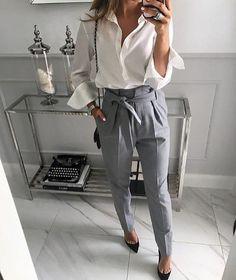 20 de ținute impresionante cu pantaloni pentru anul acesta - Fasingur Look Do Dia, Casual Looks, Classy Outfits, Cool Stuff, Long Sleeve, Clothes For Women, Lace, Skirts, Pants