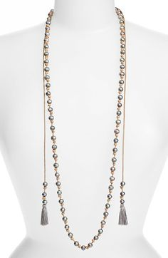 Free shipping and returns on Chan Luu Double Tassel Potato Pearl Necklace at Nordstrom.com. Iridescent cultured freshwater potato pearls are suspended between the knotted leather of a rustic long necklace featuring two boho-chic tassles hanging along either side.