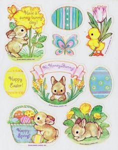 VTG Easter Blessings stickers by Hallmark - Vintage Stickers - レシピ Easter Stickers, Love Stickers, Diy Crafts For Gifts, Easter Activities, Happy Spring, Vintage Easter, Cute Bunny, Easter Crafts, Vintage Postcards