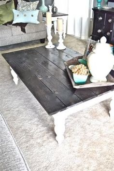 To change the look of a coffee table: remove existing top, paint base, replace top with natural wood stained in color of your choice, reattach using the original screws that came with your table.