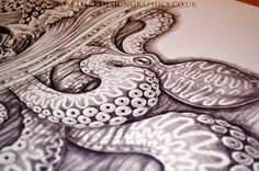 Nautical Tattoo work in progress shot of the kraken #krakentattoo #kraken #legendarymonster #seamonster #tattoo #tattoodesign #illustration #fullsleeve