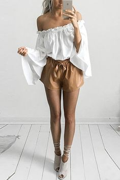 White Off Shoulder Chiffon Top with Long Sleeves