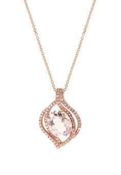 Effy Blush 14K Rose Gold Morganite and Diamond Pendant, 2.56 TCW - Necklaces & Pendants - Women
