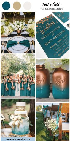 Best 7 Teal Fall Wedding Colors Combos - Teal + Gold Fall Wedding: teal bridesmaid dresses, traditional white bridal gown, gold color can b - Teal Fall Wedding, Gold Wedding Gowns, Wedding Themes For Fall, Teal Wedding Cakes, Wedding Colors Teal, Wedding Bridesmaids, Teal Wedding Dresses, Dark Teal Bridesmaid Dresses, Teal Wedding Decorations