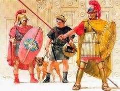 """Angus McBride - Soldados seleúcidas """"romanizados"""" y guerrero cilicio (centro) en el Desfile de Dafne, 166 AC"""