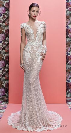 galia lahav spring 2019 bridal long sleeves deep v neck full embellishment elegant fit and flare wedding dress cowl back sweep train (rhainnon) mv
