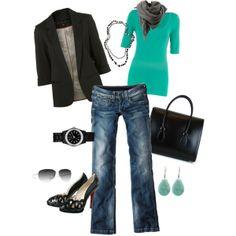 Women's outfits. Women's fashion. Women's clothes. Spring. Fall. Winter. Turquoise. Blazer jacket. Black.
