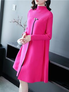 Solid Ribbed Stand Collar Slit Knitted Sweater Dress delivers online tools that help you to stay in control of your personal information and protect your online privacy. Dress Outfits, Fashion Dresses, Short Beach Dresses, Knit Sweater Dress, Sweater Dresses, Turtleneck Dress, Coat Dress, Elegant Dresses, Casual Dresses