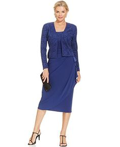 Alex Evenings Womens Formal Glitter Lace 2Piece Jacket  Dress Blue Size 8 -- For more information, visit image link.