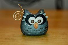 polymer clay owl silver and gunmetal steampunk by SMarrtCreations, $8.00