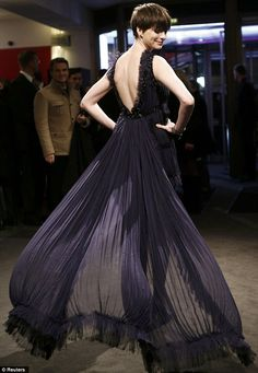Pretty in a peacock: Anne Hathaway looked great in a chiffon dress at the 63rd Berlinale International Film Festival on Saturday