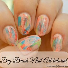 NOTD: Dry Brush Nail Art + Tutorial via @beautybymissl