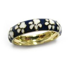 9ee3ddf46 18 karat yellow gold and blue enamel band with white enamel paw prints  State Jewelry,