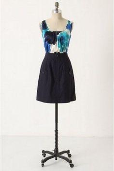 $148 Anthropologie Tabitha Doubly Dapper Silk Sheath Dress Blue 6 8 10