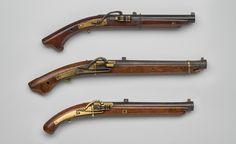 Top: Japan, Pistol, Early 18th century, wood, metal.  Middle: Japan, Pistol, Early 19th century, wood, metal.  Botttom: Shibatsuji Choezaemon (active 18th century), Japan, Pistol, Mid-18th century, wood, metal.