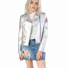 Buy US $35.99  2017 autumn new style embroidery, locomotive rivet, bright coat, short jacket, leather coat, stage wear  . Search here: Leather Jacket Shop.
