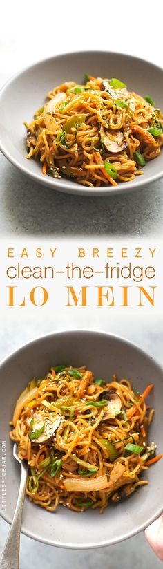 Clean the Fridge Lo Mein - The easiest lo mein recipe using whatever leftover veggies you've got in the refrigerator! #lomein #takeout #homemadelomein #lomeinnoodles | Littlespicejar.com