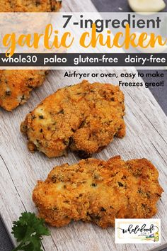 Garlic Chicken, Tandoori Chicken, Whole 30 Chicken Recipes, Cooking Sheet, 7 Day Meal Plan, Paleo Whole 30, Meal Planning, Dairy Free, Meals