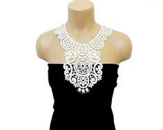 Crochet Necklace Crochet Collar Cream White Bib by HAREMDESIGN by aynikki