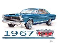 1967 Ford Fairlane Gt art print by Shannon Watts. Our art prints are produced on acid-free papers using archival inks to guarantee that they last a lifetime without fading or loss of color. All art prints include a 1 Ford Classic Cars, Classic Chevy Trucks, Ford Fairlane, Ford Pickup Trucks, Car Ford, Top Ride, Car Facts, Old American Cars, Thing 1