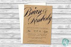 Rustic Wedding Invitation Printable / Elegant by liliumpixel