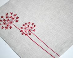 Red Queen Ann Placemat , Linen Placemats Set of Embroidered Placemats, Red Flower on Linen Placemats, Table Linen, Modern Placemats Hand Embroidery Stitches, Hand Embroidery Designs, Diy Embroidery, Cross Stitch Embroidery, Embroidery Patterns, Machine Embroidery, Modern Placemats, Linen Placemats, Linen Napkins