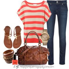 Coral Striped Top, created by uniqueimage on Polyvore