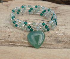 Green aventurine and crystal memory wire bracelet, Aventurine heart bracelet £16.00