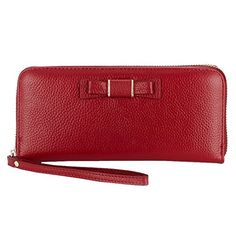 Sweetmeet Women's Wristlet Clutch Leather Purse Wallet Iphone 6 Plus Coin Keys Card Holder Wine Red. 1.Material:Genuine Leather of cowhide(PU leather is NEVER used in our products),together with high-quality light golden hardware parts makes this bag noble and the unique design highlight feminine elegance.So it soon wins women love for its' pragmatic purpose that it fits in well anywhere and causes a new fashion in such a short time.You can take it to work,shopping,traveling,evening…