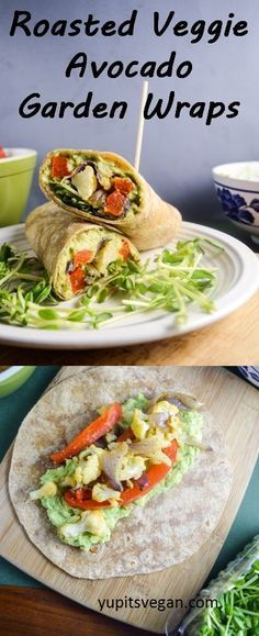 "Roasted Vegetable Avocado Garden Wraps | <a href=""http://yupitsvegan.com"" rel=""nofollow"" target=""_blank"">yupitsvegan.com</a>. These healthy vegan wraps are filled with lemon pepper avocado mash and savory roasted vegetables, perfect for transitioning from winter to spring!"