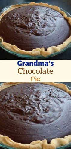 Grandma's Chocolate Pie - Chocolate 🍫 Grandma's Chocolate Pie, Chocolate Meringue Pie, Chocolate Pie Recipes, Chocolate Desserts, Homemade Chocolate Pie, Chocolate Cookies, Easy Desserts, Delicious Desserts, Yummy Food