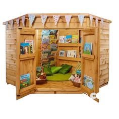 Create a fabulous outside reading corner complete with shelter from the elements with this larger version of our reading corner. Great for larger settings or older children. Complete with book storage on the walls and doors. All you need to do is open up the doors and you're set! Reading Corner School, Reading Den, Outdoor Classroom, Outdoor School, Outdoor Play, Indoor Outdoor, Book Storage, Open Up, Shelter