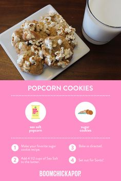 These will really get your holiday party poppin'. Healthy Popcorn, Popcorn Recipes, Sweets Recipes, Just Desserts, Cookie Recipes, Recipe Box, Sugar Cookies, Yum Yum, Sweet Tooth