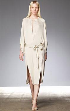Cream dress with elegant crystals buckles embellished ribbon bow #belt Donna KaranResort 2015 #Resort15 #fashion